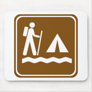 Hiking Trail with Lakeside Camping Highway Sign Mouse Pad