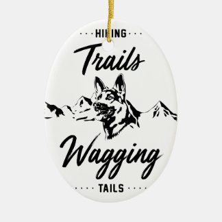 Hiking Trails Wagging Tails Ceramic Ornament