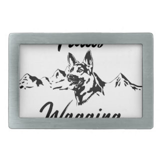 Hiking Trails Wagging Tails Rectangular Belt Buckle