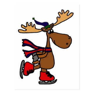 Hilarious Ice Skating Moose Postcard