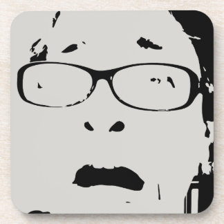 Hilarious Scared Lady Wearing Glasses Personalized Coaster