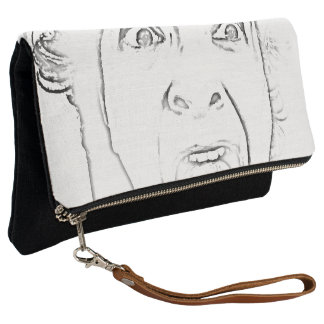Hilarious Screaming Face Print Clutch
