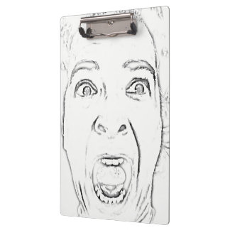 Hilarious Screaming Lady Face Print Clipboard