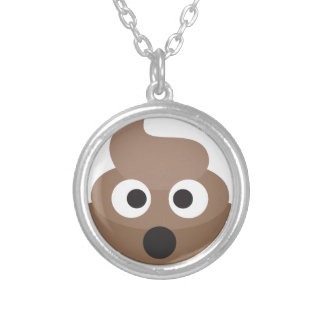 Hilarious shocked Emoji Poop Silver Plated Necklace