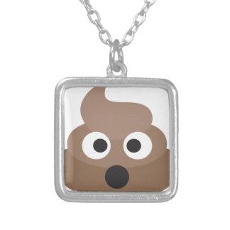 Hilarious shocked Emoji Poop Silver Plated Necklace
