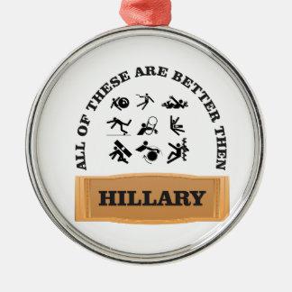 hillary bad metal ornament