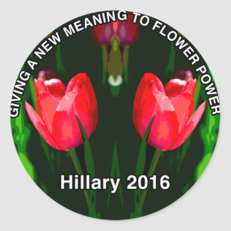 Hillary Clinton 2016 Red Flower Classic Round Sticker
