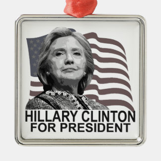 HILLARY CLINTON 2016 Tshirts ;,.png Silver-Colored Square Ornament