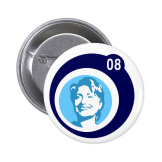 hillary clinton : blue bubbles : 2 inch round button