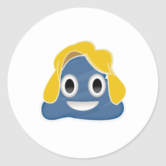 Hillary Clinton Blue Poo - -  Round Sticker