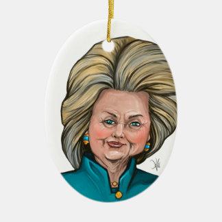Hillary Clinton Caricature Ceramic Oval Ornament