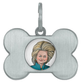 Hillary Clinton Caricature Pet Name Tags