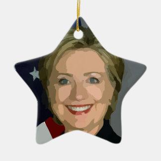 hillary clinton ceramic star ornament