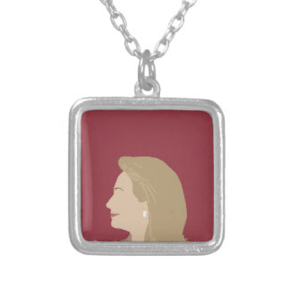 Hillary Clinton Feminist Silver Plated Necklace