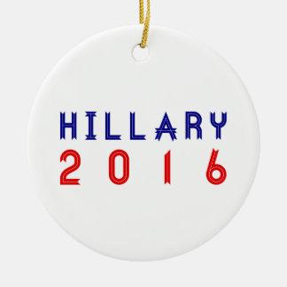 Hillary Clinton for President 2016 Ribbon Text Round Ceramic Ornament