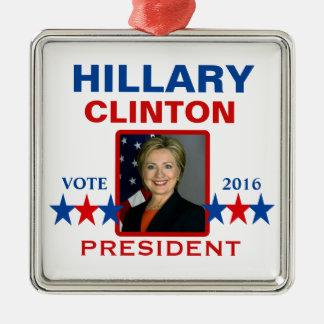 Hillary Clinton for President 2016 Silver-Colored Square Ornament