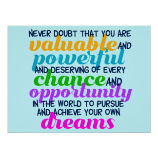 Hillary Clinton Inspirational Dreams Quote Poster