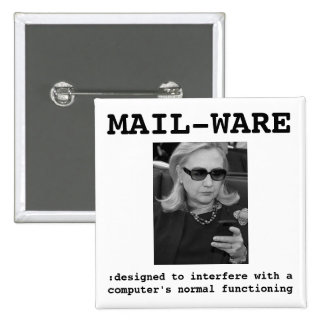 Hillary Clinton: MAIL-WARE 2 Inch Square Button