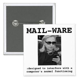 Hillary Clinton: MAIL-WARE 2 Inch Square Button