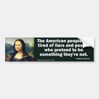 Hillary Clinton Mona Lisa Bumper Sticker