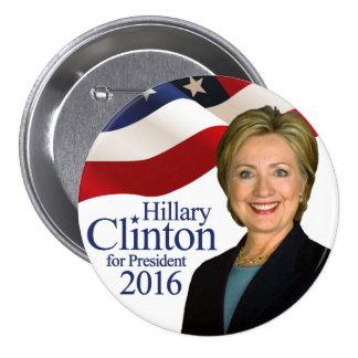 """Hillary Clinton pour la borne 3"""" de président 2016 Macaron Rond 7,6 Cm"""