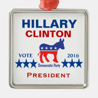 Hillary Clinton President 2016 Silver-Colored Square Ornament
