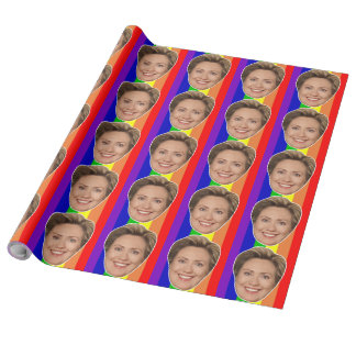 Hillary Clinton Rainbow Wrapping Paper