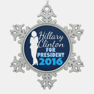 Hillary Clinton Silhouette President 2016 Snowflake Pewter Christmas Ornament