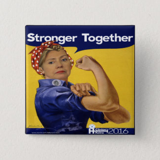 Hillary Clinton Stronger Together 2 Inch Square Button