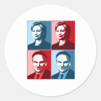 Hillary Clinton Tim Kaine - Block Art - Classic Round Sticker
