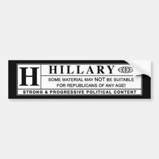 Hillary Clinton warning label