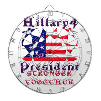 Hillary For USA President We are Stronger Together Dartboards