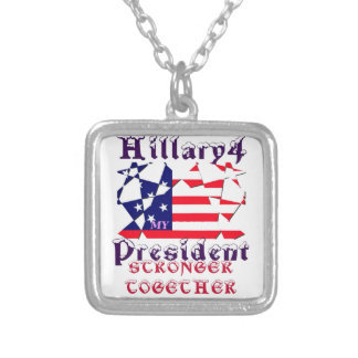 Hillary For USA President We are Stronger Together Silver Plated Necklace