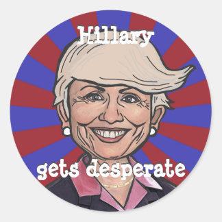 Hillary gets desperate-Trump hair funny sticker
