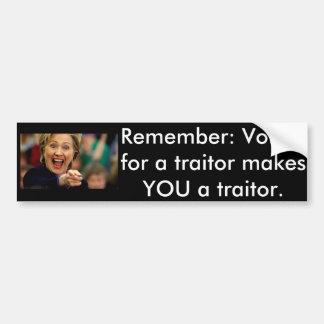 Hillary Traitor Bumper Sticker