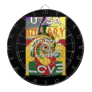 Hillary USA President Stronger Together red golden Dartboard