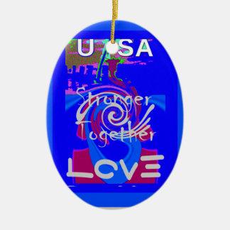 Hillary USA President Stronger Together spirit Ceramic Oval Ornament