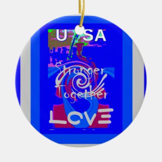 Hillary USA President Stronger Together spirit Round Ceramic Ornament