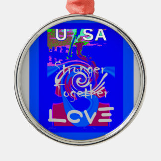 Hillary USA President Stronger Together spirit Silver-Colored Round Ornament