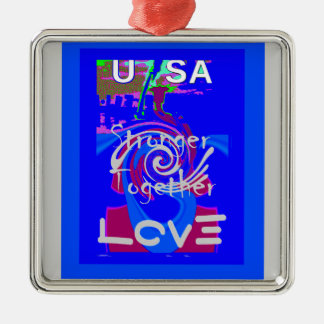 Hillary USA President Stronger Together spirit Silver-Colored Square Ornament