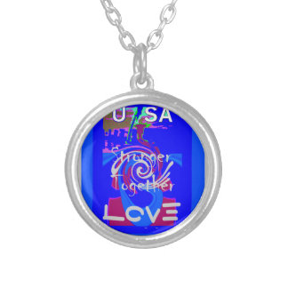Hillary USA President Stronger Together spirit Silver Plated Necklace