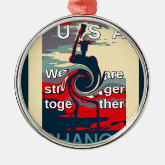 Hillary USA we are stronger together Silver-Colored Round Ornament