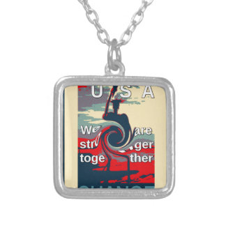 Hillary USA we are stronger together Silver Plated Necklace