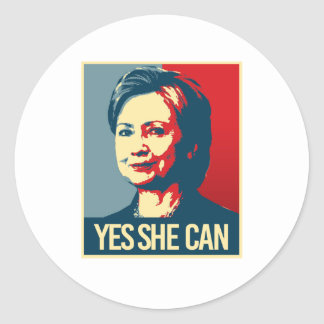 hillary - yes she can - -  round sticker