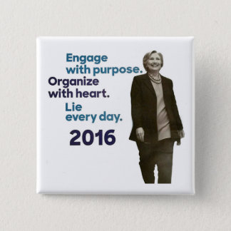 Hillary's Three Rules 2 Inch Square Button
