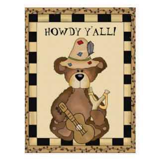 Hillbilly Bear cartoon Howdy postcard