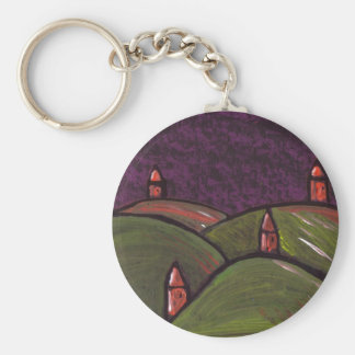 HILLS AND HOUSES BASIC ROUND BUTTON KEYCHAIN