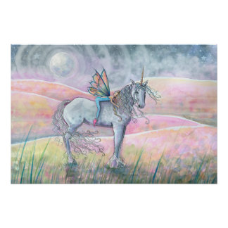 Hills of Enchantment Unicorn and Fairy Fantasy Art Poster