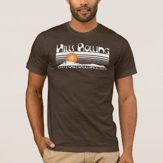 Hills Rolling - Brown T-Shirt with Sunset Design