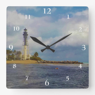 Hillsboro Inlet Light Scenic Square Wall Clock